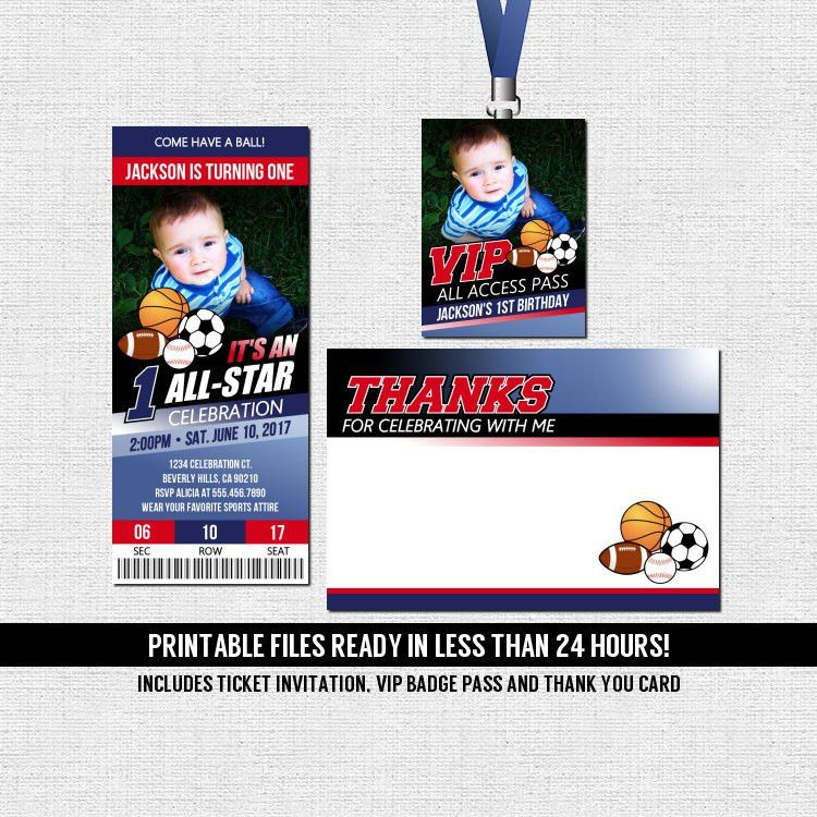Sports Ticket Invitation All Star Birthday Party Thank You