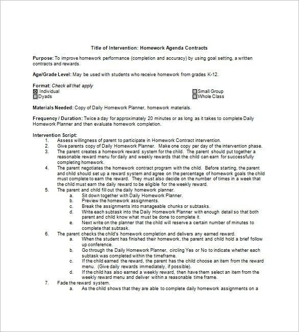 8+ Homework Agenda Templates – Free Sample, Example, Format ...