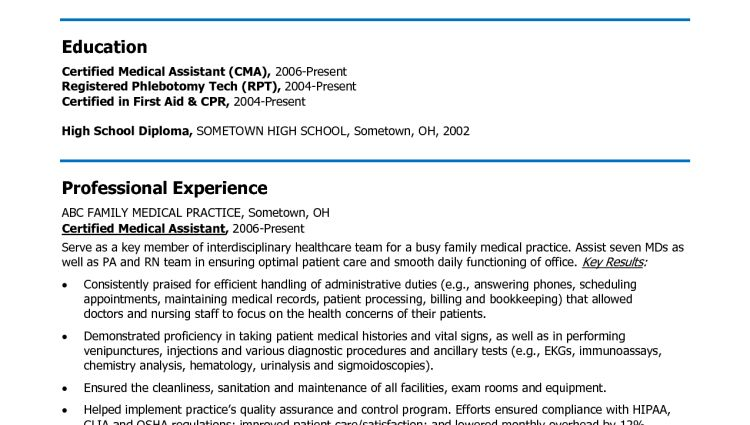 medical assistant resume objective examples - Writing Resume ...