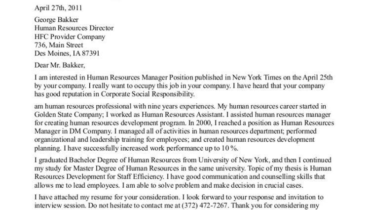 cover letter for internship in human resources cover letter hr ...