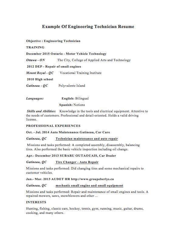 mechanical technician resume samples - RESUMEDOC