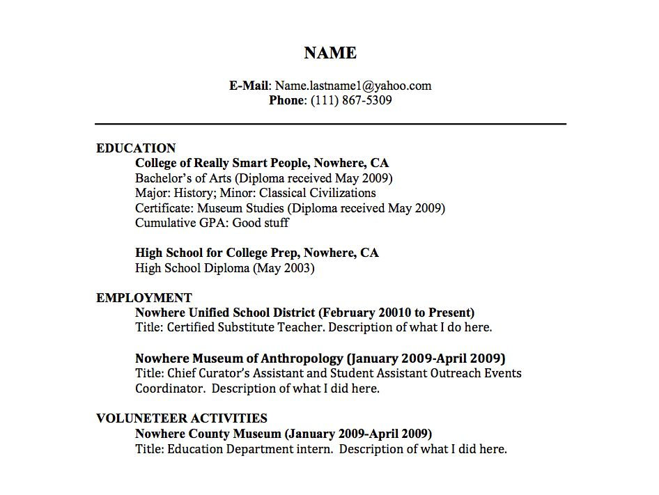 Example Of Resume For A Job Resume Experience Sample Sample Resume .