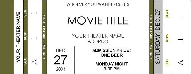 Movie Ticket Template | cyberuse