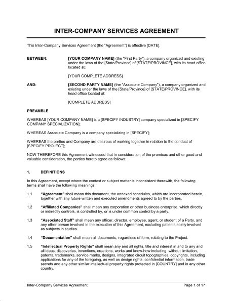 Inter-Company Services Agreement - Template & Sample Form ...