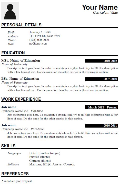 cv_15. latex templates typesetting service. graphic design resume ...