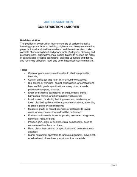 Laborer job description construction laborer job description construction laborer job description template sample form pronofoot35fo Image collections