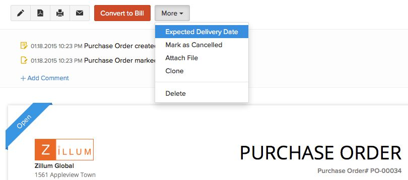 Purchase Order - Specify expected delivery date of a purchase order