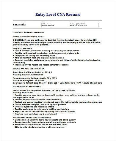Example Cna Resume. Sample Resume Cna Example Of A Cna Resume ...