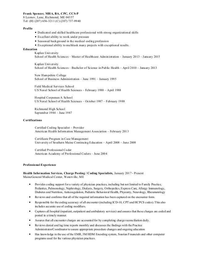 health information management resume health information
