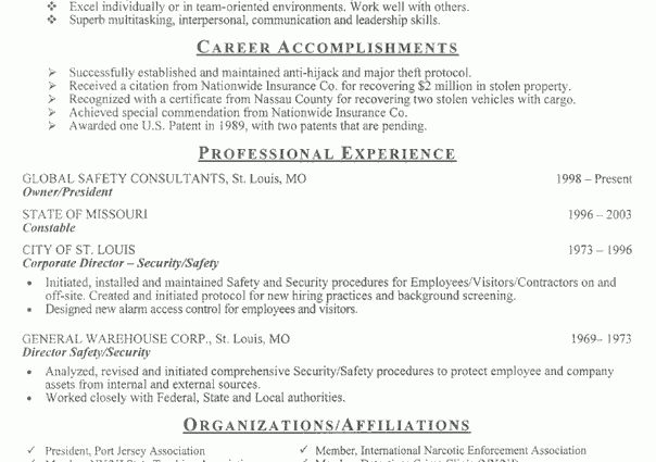 security resume sample resume example security officer gary tennis ...
