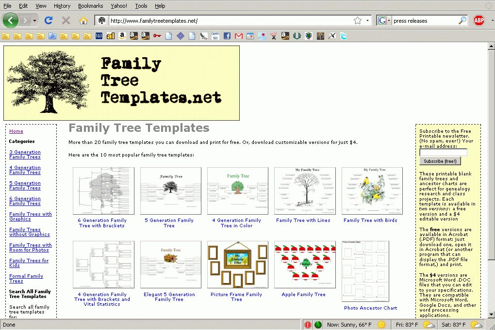 Printable Family Tree Templates Available for Download at New Web ...