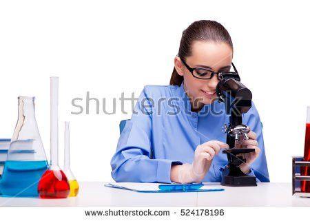 Lab Chemist Working Microscope Tubes Stock Photo 524178196 ...