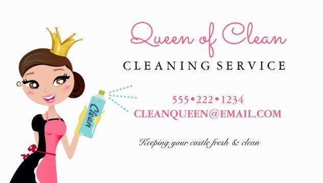 Girly Pink Cleaning Queen With Crown Cleaning Services Business ...