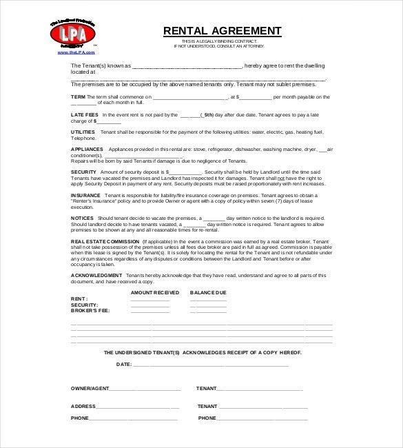 Rent Contract Templates. Sample Shop Rental Agreement Free ...