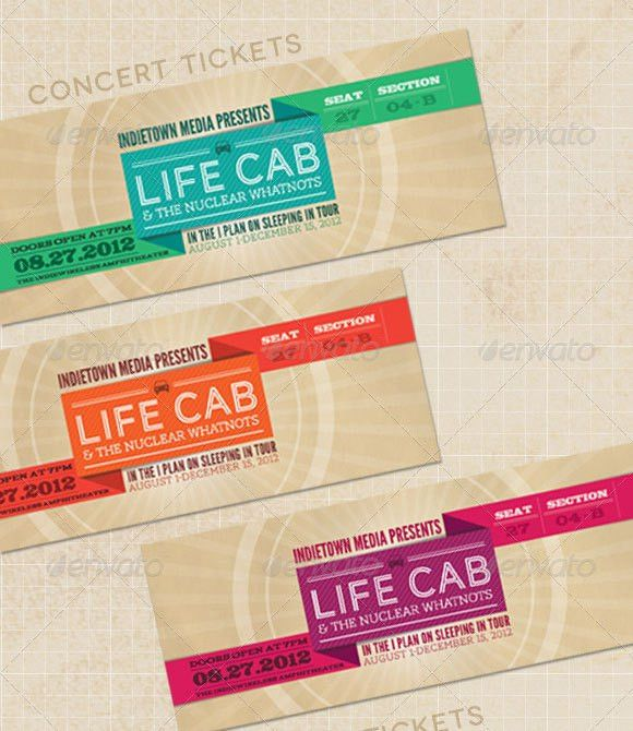 Concert ticket design