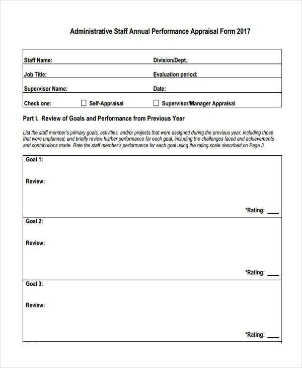 27+ Sample Performance Appraisal Form