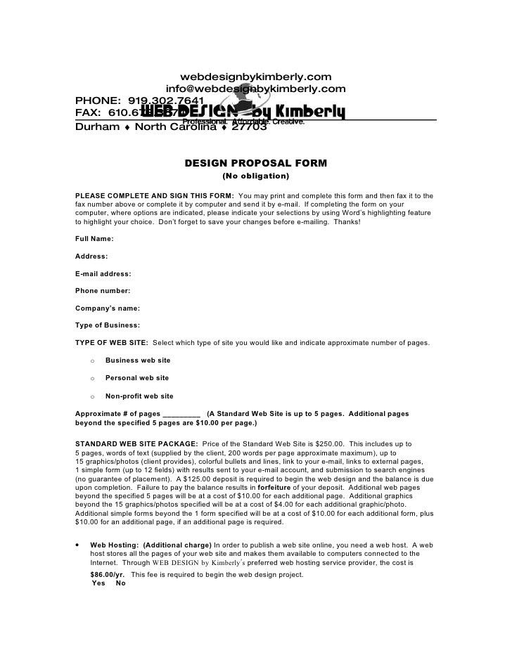 Download a Web Design Proposal Form