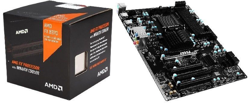 AMD FX-8370 CPU w/ Wraith Cooler + MSI 970A-G43 Plus Motherboard ...
