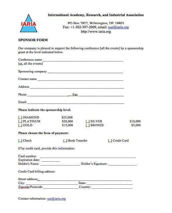 Example Sponsor Form Sponsorship Form Template Free Printable – Blank Sponsorship Form