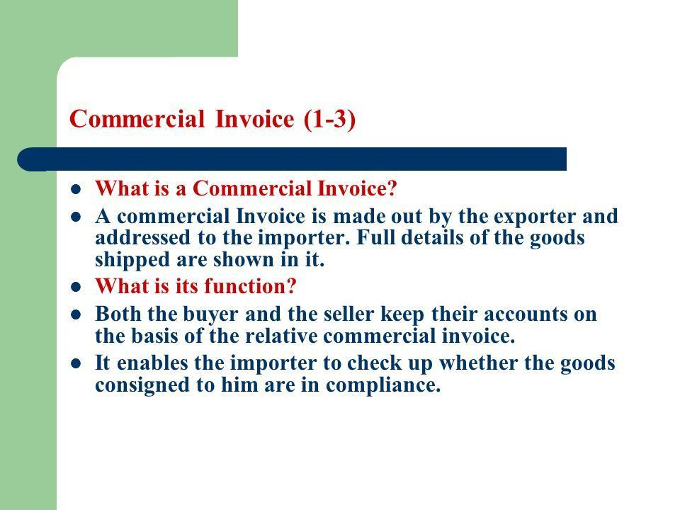 Commercial Invoice. Commercial Shipping Invoice Template ...