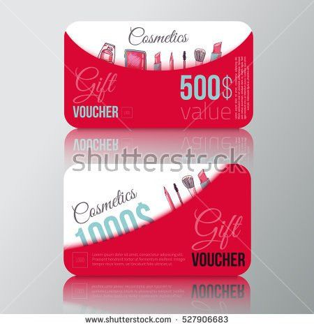 Cosmetic Products Gift Voucher Make Vector Stock Vector 527906683 ...