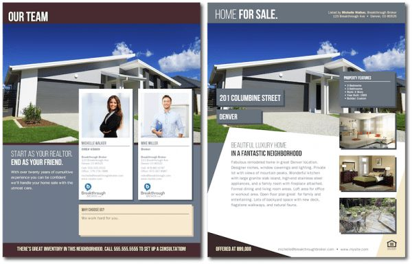 "Contemporary ""Home For Sale"" Brochure with Co-Branding"