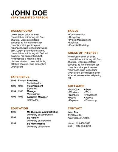 Resume Examples. excellent 10 design simple layout resume ...