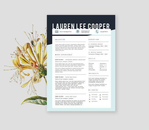 Resume design with cover letter CV template in by landedCo on Etsy ...