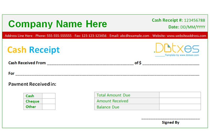 Cash Receipt Template (Basic design) - Dotxes