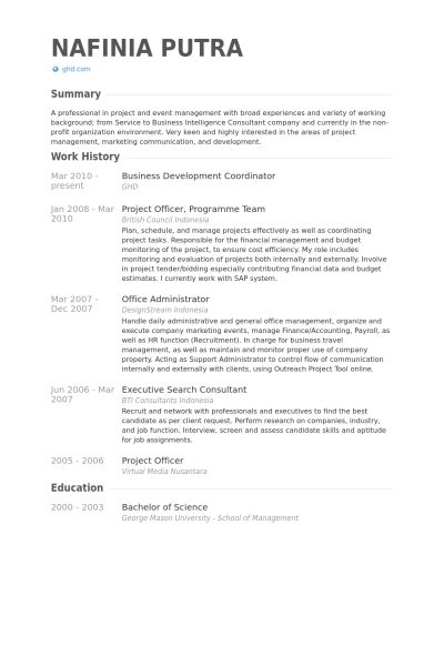 Business Development Coordinator Resume samples - VisualCV resume ...