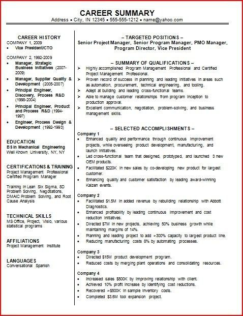 Resume Professional Summary Examples. Resume Summary Example 89 .
