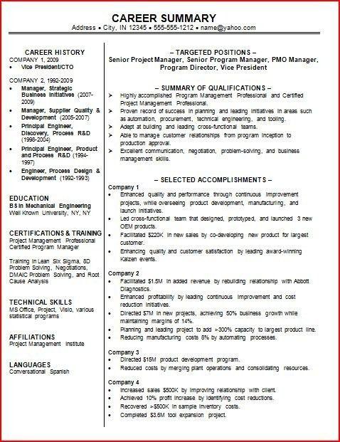 Resume Professional Summary Examples. Resume Summary Example 89 ...