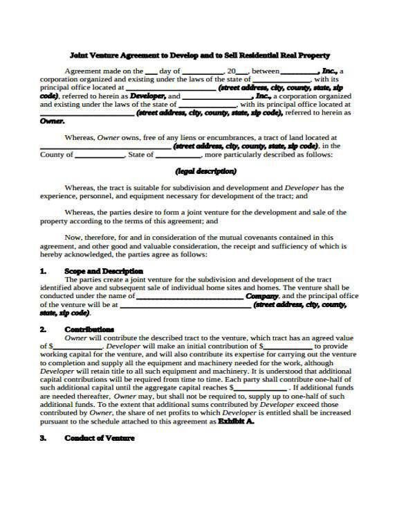 Sample Joint Venture Agreement Forms - 8+ Free Documents in Word, PDF