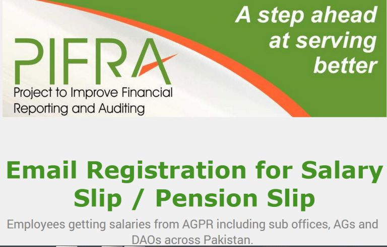 PIFRA Salary Pay Slips Online Registration 2017 for Govt Employees ...