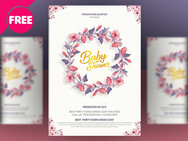 Baby Shower Invitation Templates by Free Download PSD - Dribbble