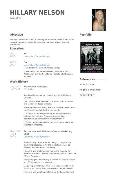 Promotions Assistant Resume samples - VisualCV resume samples database