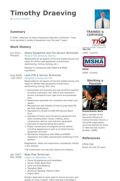 Service Technician Resume samples - VisualCV resume samples database
