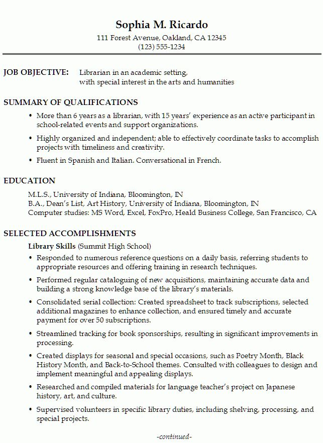Librarian Resume Objective Statement #505