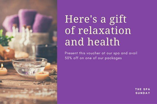 Purple with Photo Massage Gift Certificate - Templates by Canva