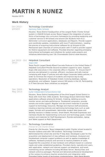 Technology Coordinator Resume samples - VisualCV resume samples ...