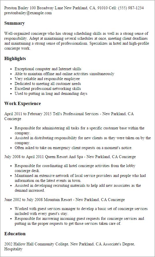 Professional Concierge Templates to Showcase Your Talent ...