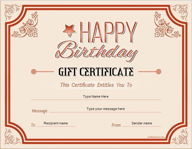 Birthday Gift Certificate Template. Free Printable And Editable ...