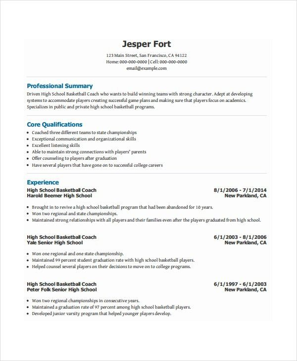 Bright Design Basketball Coach Resume 16 Free Traditional Sports ...