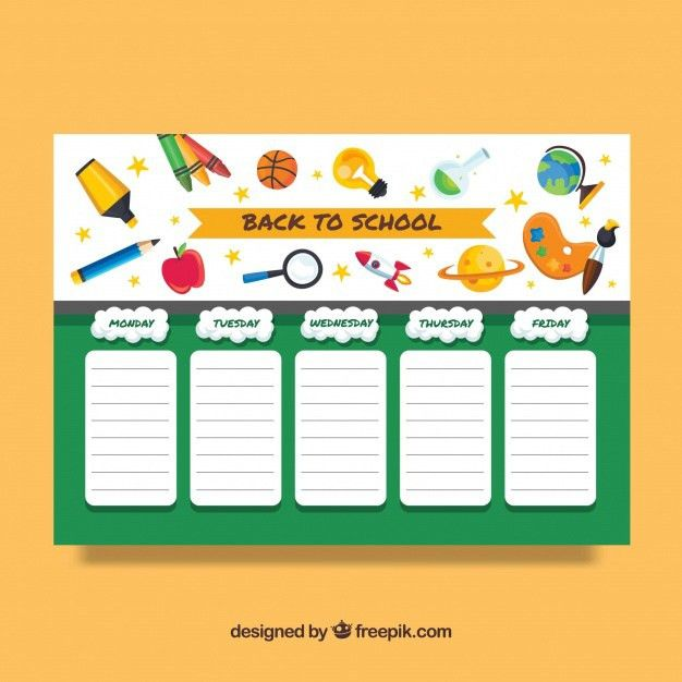 Back to school timetable template Vector | Free Download