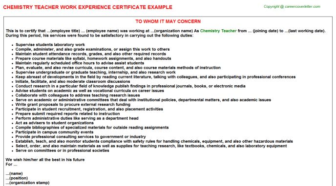 Samples of experience certificate work experience certificate chemistry teacher work experience certificate yelopaper Image collections