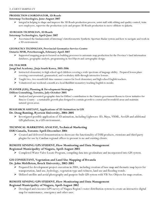 Geographic Information System) Specialist Resume