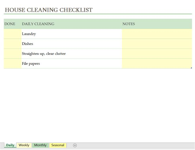 House cleaning checklist - Office Templates
