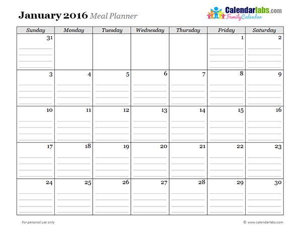 2016 Monthly Menu Planner 03 - Free Printable Templates