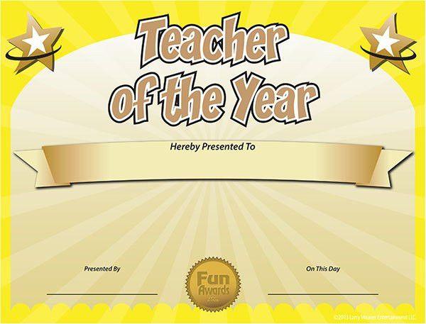 Teacher Of The Year Certificate Template #teacheroftheyear ...