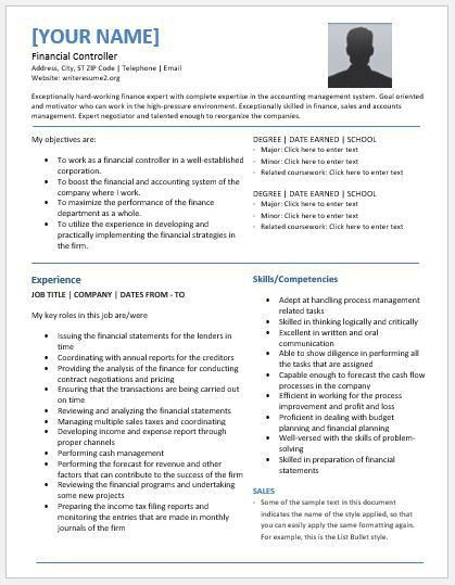 Financial Controller Resume Templates for MS Word   Resume Templates